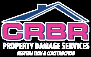 CRBR Property Damage Services Restoration & Construction Logo White tagline